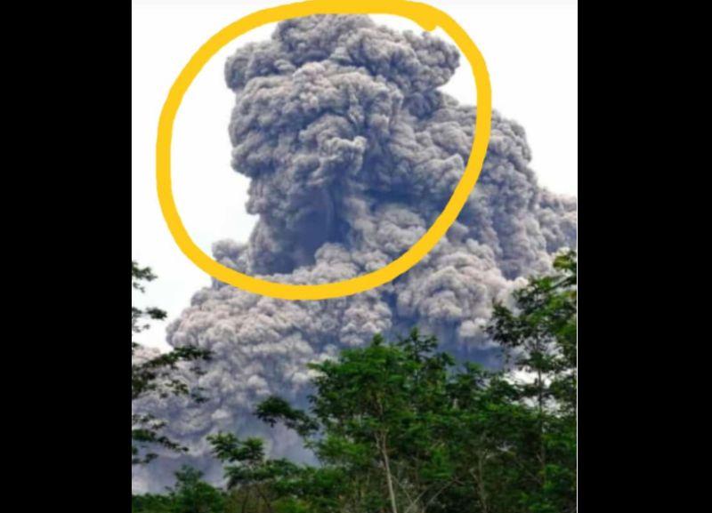 Viral wedus gembel letusan Gunung Merapi menyerupai wajah orang