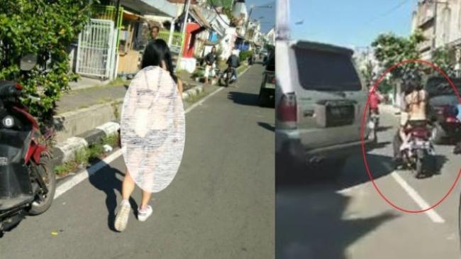 Foto Wanita ini Bugil Telanjang di Jalanan HOT sekali